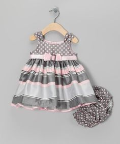 Take a look at this Pink & Gray Polka Dot Stripe Dress & Bloomers - Infant by Gerson & Gerson on #zulily today!