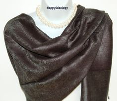Gray Pashmina Scarf.Grey and Black by HappyIdeology on Etsy