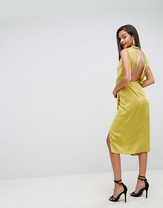 ASOS Drape Front Satin Midi Dress  £55.00  COLOUR: Chartreuse