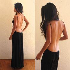 Backless Maxi dress by Three HeartZ- Black on Etsy, $84.99