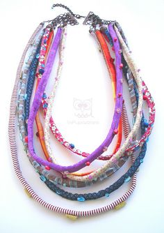 necklace with beaded fabric tubes/strips