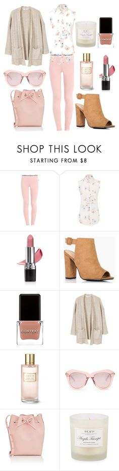 """Thankful for Pink                          #ootd #style #fashion #outfitoftheday #fashionista #polyvorestyle #harrods #selfridges #gilt"" by giannilachica ❤ liked on Polyvore featuring Moschino, Sophie Cameron Davies, Avon, Boohoo, Context, MANGO, Estée Lauder, Karen Walker, Mansur Gavriel and D.L. & Co."