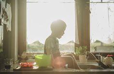 Flare light kitchen childhood unplugged boy family photography