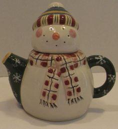 Debbie Mumm Marshmellow Snowman Teapot Collectible Christmas