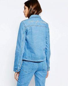 ASOS See You Never Embroidered Back Denim Jacket