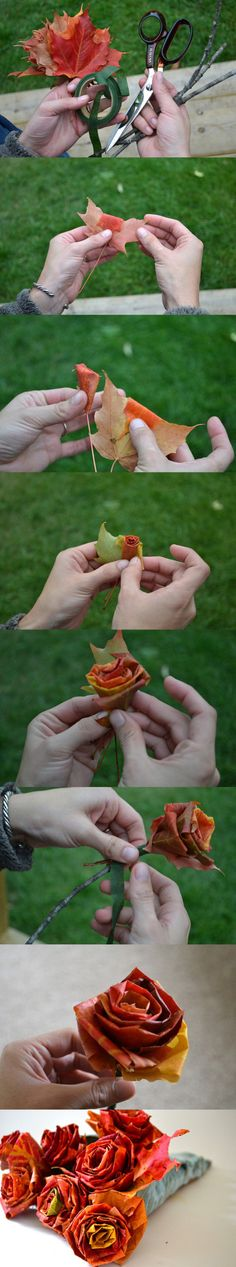 DIY Fall Bouquet.  Make your own roses out of artificial maple leaves.  Create a bouquet with only these as the flowers or add them to your fall bouquet.  As seen on imwm.org