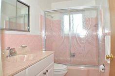Pink bathroom with shower door decal!