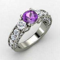 Round Amethyst Platinum Ring with Diamond