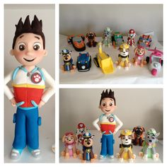 Paw Patrol, dogs and vehicles cake topper fondant