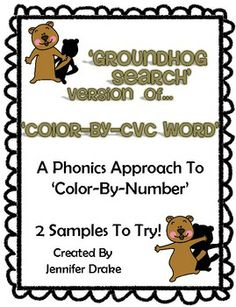Do you students LOVE color-by-number activities?Are you working on decoding and reading CVC words?Planning on learning about the groundhog? Fun Classroom Activities, Language Activities, Classroom Fun, Number Activities, Holiday Activities, Kindergarten Freebies, Kindergarten Curriculum, School Items, School Stuff