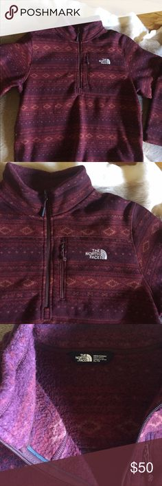 Men's north face jacket This is a MENS jacket. It's Aztec printed, fleece lined, has elbow details, a zipper chest pocket. Worn once! North Face Tops Sweatshirts & Hoodies