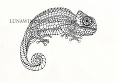 chameleon lizard reptile rainforest lunawind adult coloring book drawing pen and ink drawing black and white color zentangle intricate drawing whimsical artist love christmas wedding animal nature wildlife tattoo