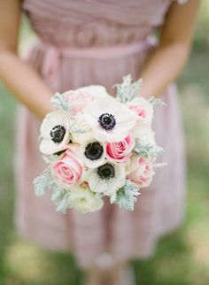 Anemone Wedding Bouquets | Anemone and rose bouquet using red roses and darker greenery and maybe a ribbon trail.