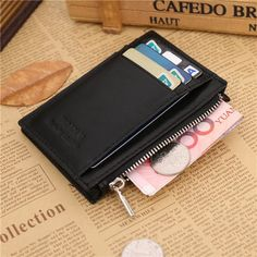 Hot-sale Men Genuine Leather Zipper Short Wallet Folding Totes Card Holders Bags - NewChic Mobile.