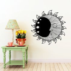 Sun Wall Sticker Moon Crescent Dual Ethnical Stars Symbol Wall Decals Vinyl…