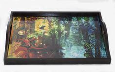 Bandeja en madera para 2 platos en madera,imagen en resina de vidrio