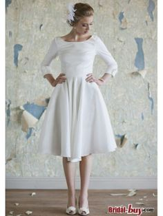 Buy Custom Made High Quality Best Selling Modest Princess Scoop Long Taffeta Wedding Dress With 3/4 Sleeves Under 200 WAD-7885 at wholesale cheap prices from Bridal-Buy.com