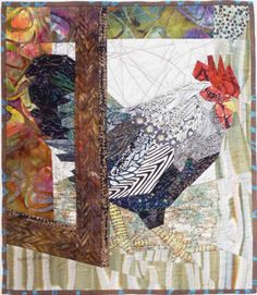 Venturing Out by Ruth McDowell (2014) - A pattern of chicken wire is quilted on the door.