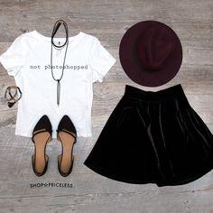 Hazelette Velvet Skirt - Black