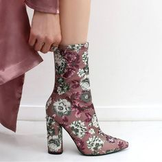 Floral Pointed Toe Ankle Boots