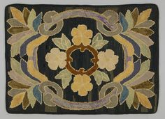 Object Name:Hooked Rug  Place Made:North America: Canada, Central Canada, Ontario, Western Ontario  Period:Mid 20th century  Date:1930 - 1940  Dimensions:L 90 cm x W 65 cm  Materials:Burlap; cotton; wool  Techniques:Hooked