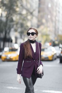 Burgandy Blazer & Leather Leggings great blog about fashion and lifestyle by erika fox