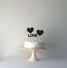 Topper gâteau de tableau noir coeurs mariage, wedding cake topper, aime topper gâteau, par Kiwi Tini sur Etsy, 16,54€