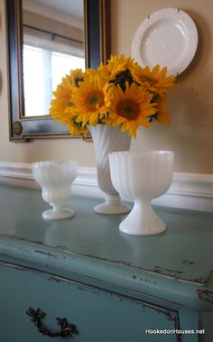 Milk Glass - I like this look with 1 having flowers and paired with 2 that are empty.