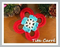 Motivo Floral em 3 cores em crochet
