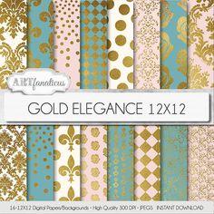 "Gold digital papers ""Gold Elegance Backgrounds"" inspired by my Gold Shine set, gold metallic, gold wedding, elegant designs, gold patterns"