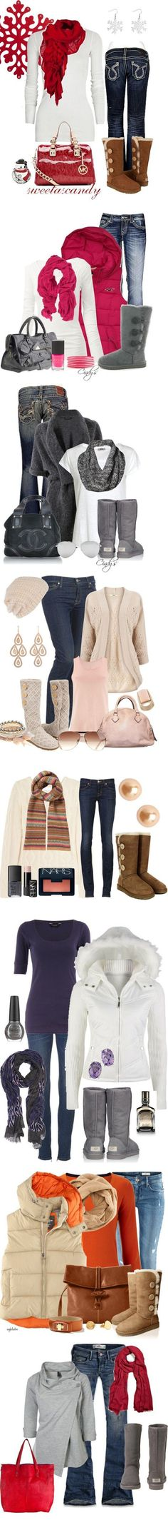 I want the scarves!! And I love the outfits!