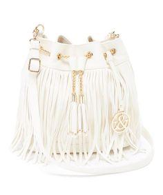 $35 Loving this White Fringe Bucket Bag on #zulily! #zulilyfinds