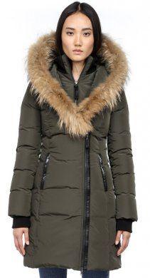 Mackage Woman Kay-F4 Long Winter Down Coat With Fur Hood Army Green
