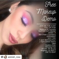 Ladies my friend is hosting a FREE makeup demo!! #Repost @adeliah_rose ・・・ LETS KICK OFF THE SUMMER WITH A DAY FULL OF FUN!☀️ ��MAKEUP & COCKTAILS �� FULL FACE & GLITTER CUT CREASE DEMO ����✨ ��MAKEUP GIVEAWAY!!!! ��JULY 15th ��MIMOSA HOUR 1-2pm ��GLITTER DEMO 2-3pm  EVERYONE IS INVITED!  SPACES ARE LIMITED!!! ����DM TO RSVP ��  #makeupdemo #losangelesmakeupartist #makeupgiveaway #360cheercosmetics  #beauty #makeup #mua #makeuptutorial #makeupgoals #instamakeup #slavetobeauty #makeup…