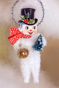 Mr. Snowman Vintage Style Chenille Feather Tree by TreePets