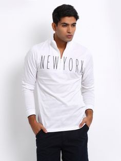 Arrow New York Men White Slim Fit T-shirt | Myntra