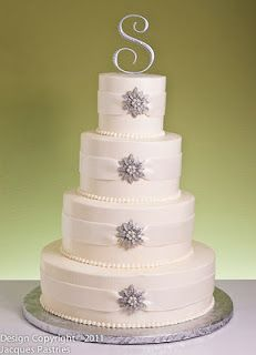 I'm thinking a simple cake like this, remove the stars and have a navy blue ribbon going around each tier.