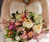 Like colors, but design is too dense: Pink, Peach And Orange Bouquet