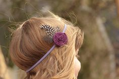 plum feather headband by Sparrowsfeather on Etsy, $8.00
