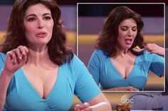 The buxom brunette chef wore a striking blue low-cut dress on Thursday night's episode of the American culinary show, showing off more cleavage than we've ever seen on Lauren Goodger Lauren Goodger, Low Cut Dresses, Nigella Lawson, Tv Presenters, Voluptuous Women, Sexy Older Women, Beautiful Women, Actresses, Artists