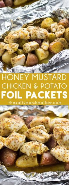Honey Mustard Chicken & Potato Foil Packets: These chicken foil packets can be baked in the oven or grilled for an easy and healthy dinner recipe! Full of juicy chicken tenders and baby potatoes, drizzled with a delicious honey mustard sauce! Foil Packet Dinners, Foil Pack Meals, Foil Packet Recipes, Tin Foil Dinners, Chicken Potatoes, Baby Potatoes, Chicken Potato Bake, Chicken Baked In Foil, Foil Wrapped Chicken