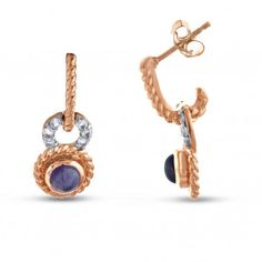 Viola, Round-cut Amethyst & White Topaz Earring in Sterling Silver Pink Plated
