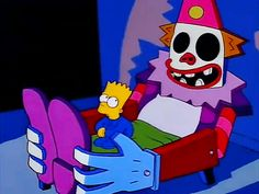 clown will eat me. Important prophecy: if the Simpsons ever ceases to air, Bart and Lisa will begin aging and will furthermore be free to live out their mortal lives. Simpson Wave, Bart Simpson, Cartoon Pics, Cartoon Characters, Simpsons Cartoon, Krusty, Free Cartoons, Kids On The Block, American Dad