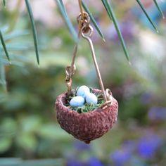 Hanging acorn Birds Nest Fairy Garden, Terrarium, mini gardening on Etsy, $11.00