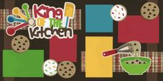 Boys/Men Cooking, Baking Scrapbook Page Layout... elements could be modified to reflect whatever they were cooking