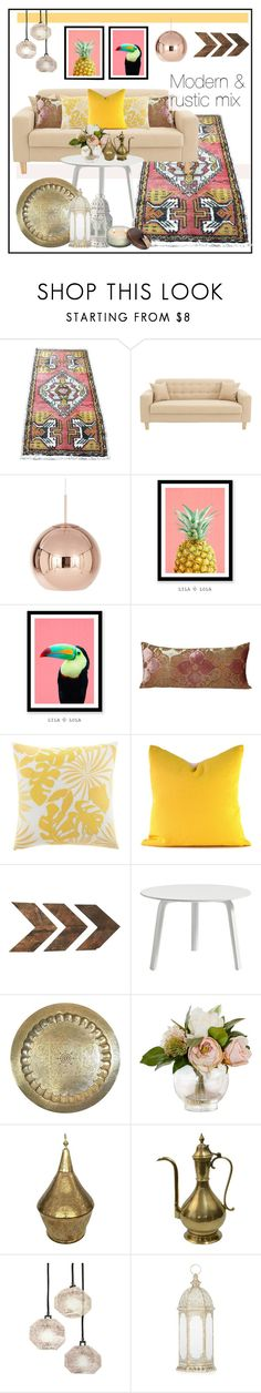 """Modern & rustic mix decor"" by sfrugs ❤ liked on Polyvore featuring interior, interiors, interior design, home, home decor, interior decorating, Tom Dixon, Kevin O'Brien, Tommy Bahama and HAY"