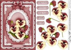 A5 Pansy Lace and Pearls Quick Card with 3D Decoupage on Craftsuprint - Add To Basket!