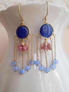 Waterlily gemstone fringe tassel chandelier earrings blue blush pink dangle drop jade rhodonite rhodochrosite gold fill Valentine gift