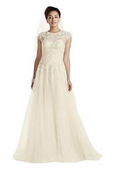 Oleg Cassini Cap Sleeve Tulle Wedding Dress Style CWG697 Ivory 8 -- Check out this great product.