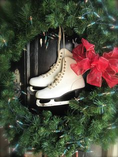 Vintage Ice Skates white leather ice skates Christmas decor Front porch decor Holiday cottage  Rustic cabin decor cottage